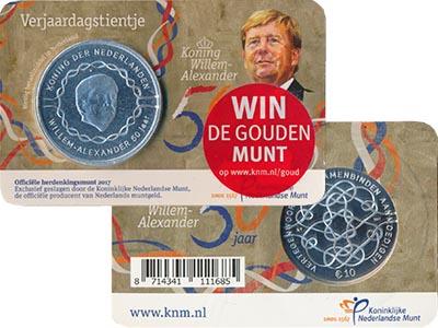 Изображение Подарочные монеты Нидерланды 50 лет Виллему-Александру 2017 Посеребрение Proof Монета номиналом 10