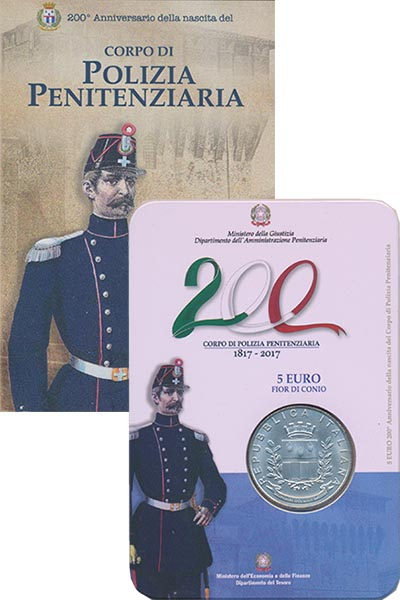 Изображение Подарочные монеты Италия 200 лет Корпусу тюремной полиции 2017 Серебро UNC