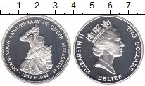 Изображение Монеты Белиз 2 доллара 1993 Серебро Proof
