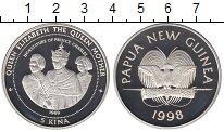 Изображение Монеты Папуа-Новая Гвинея 5 кин 1998 Серебро Proof Королева - Мать.  Ин