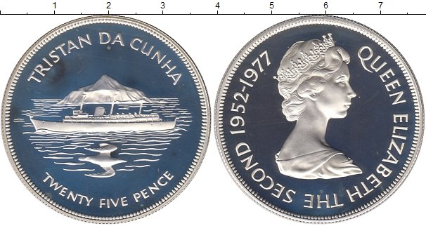 Картинка Монеты Тристан-да-Кунья 25 пенсов Серебро 1977