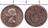 Изображение Монеты Великобритания 4 пенса 1960 Серебро Prooflike