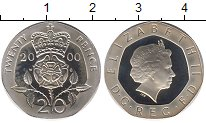 Изображение Монеты Великобритания 20 пенсов 2000 Серебро Proof- Елизавета II