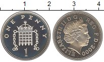 Изображение Монеты Великобритания 1 пенни 2000 Серебро Proof- Елизавета II.  Цепи