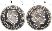 Изображение Монеты Гернси 1 фунт 1999 Серебро Proof Елизавета II.  Сэр