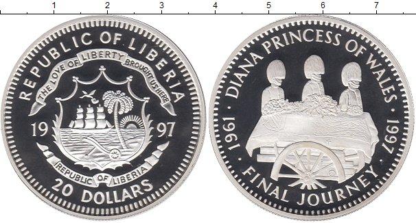 Картинка Монеты Либерия 20 долларов Серебро 1997