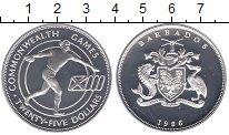 Изображение Монеты Барбадос 25 центов 1986 Серебро Proof
