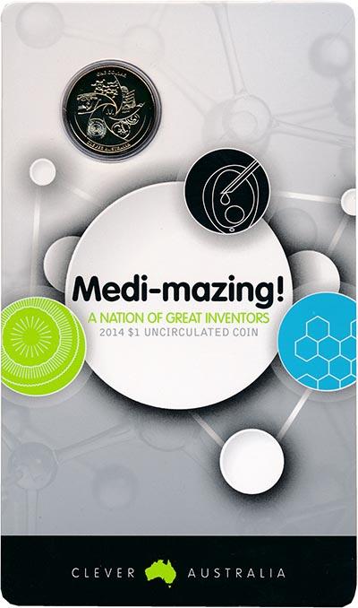 Изображение Подарочные монеты Австралия Медицина 2014 Латунь UNC Монета номиналом 1 д