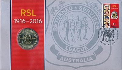 Изображение Подарочные монеты Австралия Лига поддержки военнослужащих 2016 Латунь UNC Монета номиналом 1 д