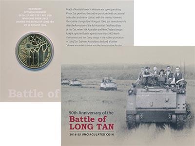 Изображение Подарочные монеты Австралия 50 лет Битве при лонг-Тане 2016 Латунь UNC
