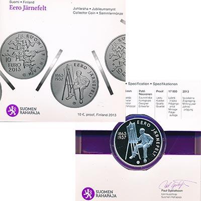 Изображение Подарочные наборы Финляндия Эроо Ярнефельт 2013 Серебро Proof Монета номиналом 10