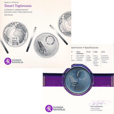Изображение Подарочные наборы Финляндия Илмари Тапиоваара 2014 Серебро Proof Монета номиналом 20