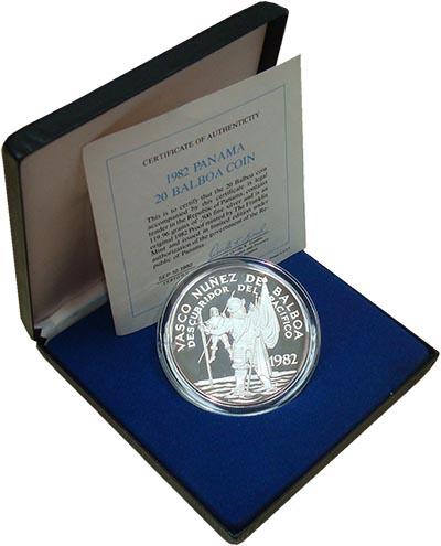 Изображение Подарочные монеты Панама Васко Нуньес де Бальбоа 1982 Серебро Proof- Монета номиналом 20