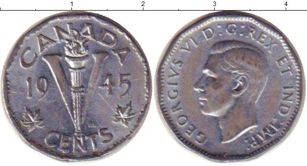 Картинка Монеты Канада 5 центов Медно-никель 1945