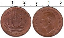 Изображение Монеты Великобритания 1/2 пенни 1944 Бронза XF+