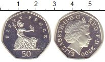 Изображение Монеты Великобритания 50 пенсов 2000 Серебро Proof- Елизавета II