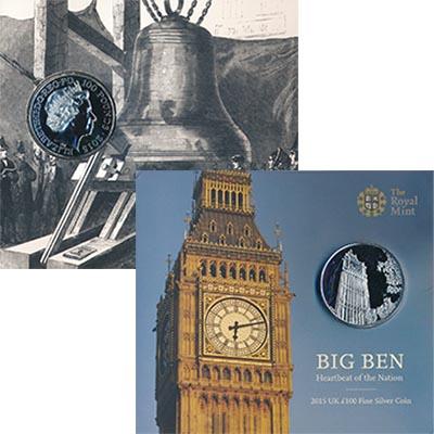 Изображение Подарочные монеты Великобритания 100 фунтов 2015 Серебро BUNC Монета номиналом 100