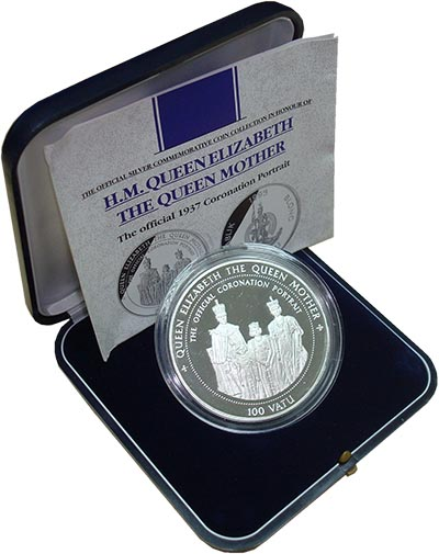 Изображение Подарочные монеты Вануату Королева-мать 1995 Серебро Proof `Монета номиналом 10
