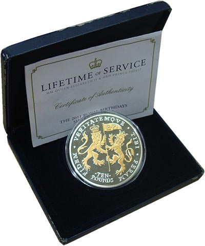 Изображение Подарочные монеты Остров Джерси Дни рождения королевской четы 2011 Серебро Proof Монета номиналом 10