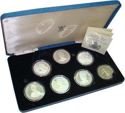 Изображение Подарочные монеты Великобритания 80 лет Королеве-матери 1980 Серебро Proof- Набор из семи монет