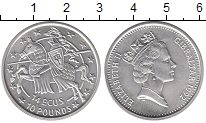 Изображение Монеты Гибралтар 14 экю 1992 Серебро UNC Елизавета II.  Рыцар