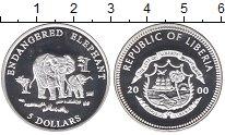 Изображение Монеты Либерия 5 долларов 2000 Серебро Proof- Защитим  слонов