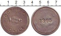 Изображение Монеты Чили 1 песо 1865 Серебро XF Токен.Копьяпо.блокад