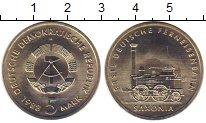 Изображение Монеты ГДР 5 марок 1988 Медно-никель UNC- `Паровоз ``Саксония`