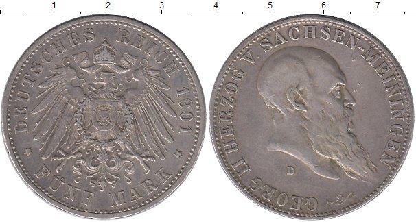 Картинка Монеты Саксен-Майнинген 5 марок Серебро 1901