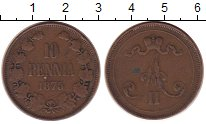 Изображение Монеты 1881 – 1894 Александр III 10 пенни 1875 Медь XF