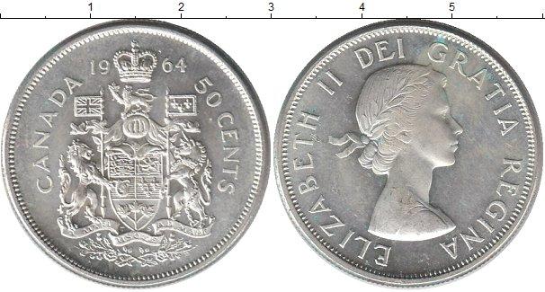Картинка Монеты Канада 50 центов Серебро 1964