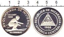 Изображение Монеты Никарагуа 50 кордоба 1988 Серебро Proof- Олимпиада 88