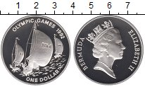 Изображение Монеты Бермудские острова 1 доллар 1992 Серебро Proof- Елизавета II.  Олимп