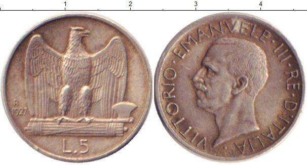 Картинка Монеты Италия 5 лир Серебро 1927