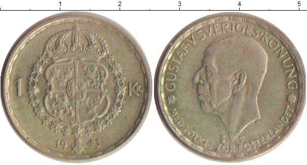 Картинка Монеты Швеция 1 крона Серебро 1943