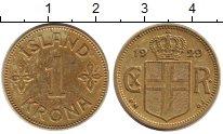 Изображение Монеты Исландия 1 крона 1929 Латунь XF Кристиан X