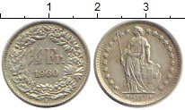 Изображение Монеты Швейцария 1/2 франка 1960 Серебро XF В