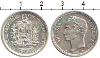 Изображение Монеты Венесуэла 1 боливар 1965 Серебро UNC Боливар - Освободите