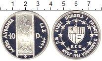 Изображение Монеты Андорра 10 динерс 1994 Серебро Proof- Таможенный  Союз.  П