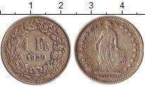 Изображение Монеты Швейцария 1 франк 1920 Серебро XF В
