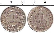 Изображение Монеты Швейцария 1 франк 1920 Серебро XF