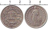 Изображение Монеты Швейцария 1 франк 1921 Серебро XF В