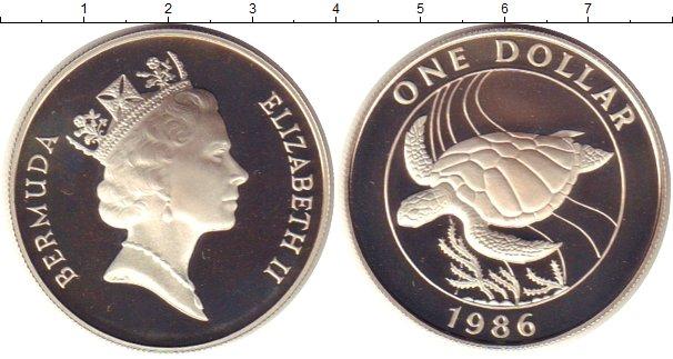 Картинка Монеты Бермудские острова 1 доллар Серебро 1986