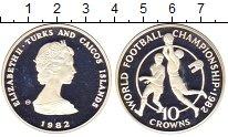 Изображение Монеты Теркc и Кайкос 10 крон 1982 Серебро Proof-