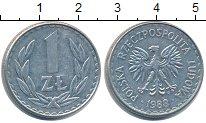 Изображение Барахолка Польша 1 злотый 1988 Медно-никель XF