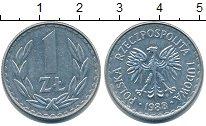 Изображение Барахолка Польша 1 злотый 1988 Медно-никель XF-