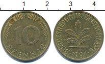 Изображение Дешевые монеты Германия 10 пфеннигов 1991 Латунь XF