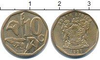Изображение Барахолка ЮАР 10 центов 1997 Латунь-сталь XF
