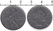 Изображение Дешевые монеты Италия 50 лир 1964 Медно-никель XF-