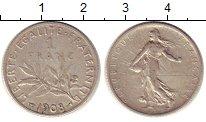 Изображение Монеты Франция 1 франк 1908 Серебро VF
